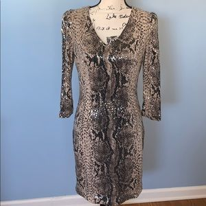 CACHE sequined animal print dress size 6